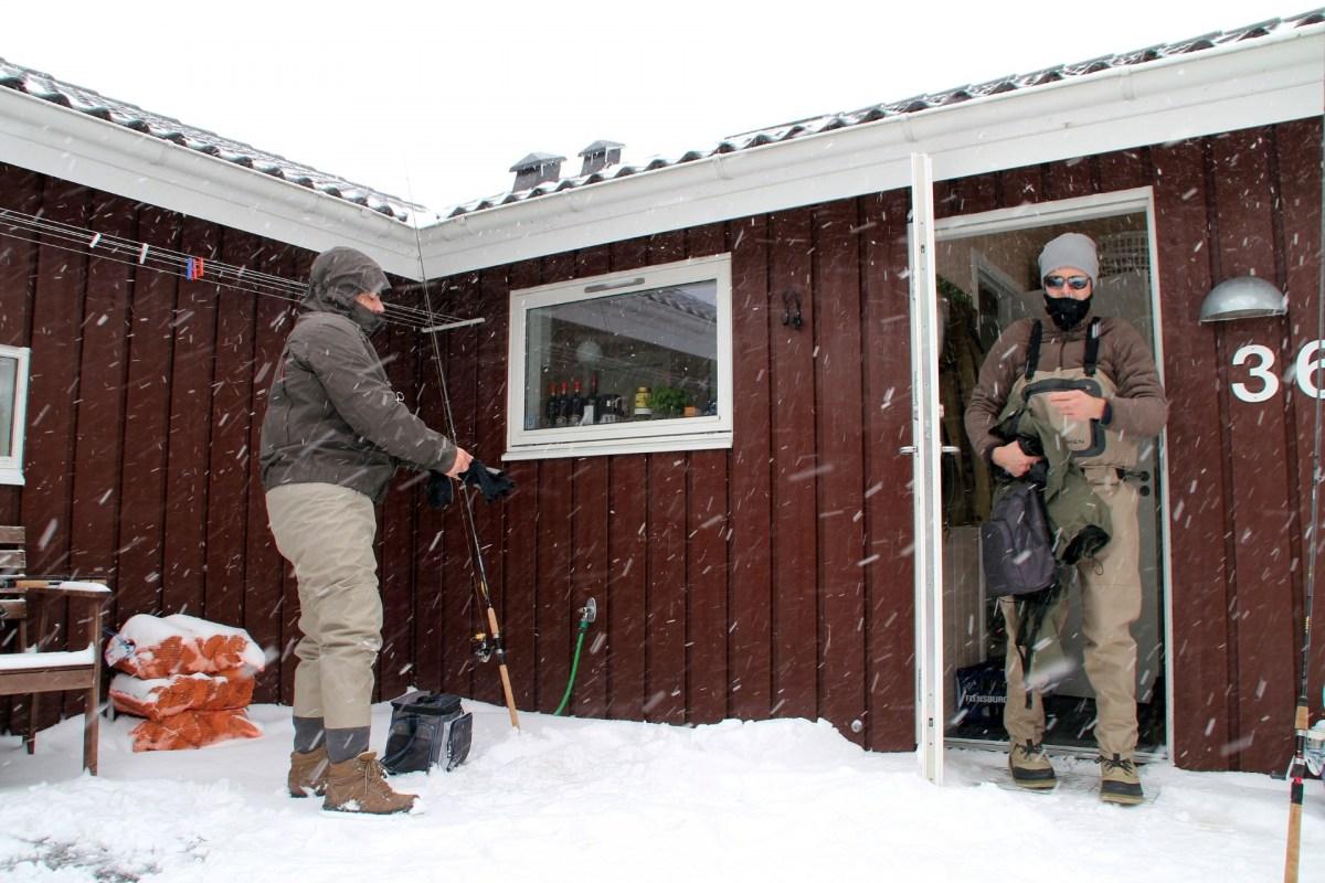 Ferienhaus für Angler im Winter