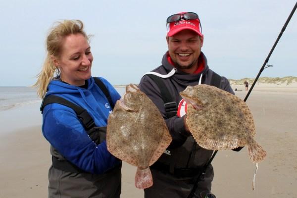 Steinbuttangeln an der Nordsee am Børsmose Strand