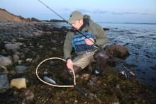 Angler mit Meerforelle vor Langø (Fynshoved)