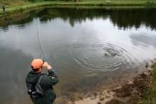 Angeln am Forellenteich mit Fisch im Drill