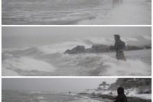 Sturm und Schneetreiben beim angeln auf Møn