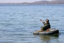 Meerforellen angeln mit Bellyboat auf Als